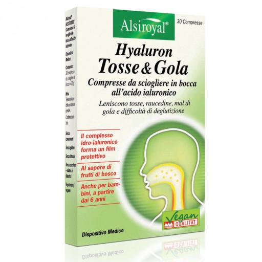 ALSIROYAL - Hyaluron tosse&gola gusto frutti di bosco - 30 compresse