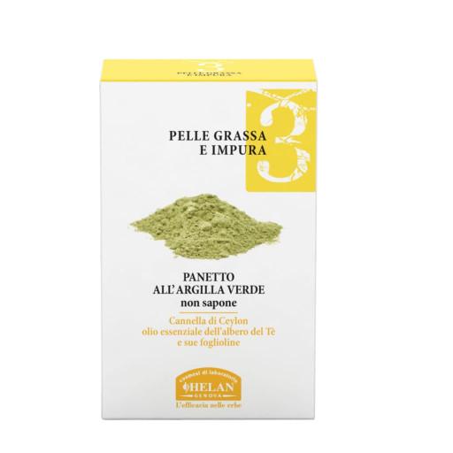 HELAN - Panetto all'Argilla Verde non sapone - Linea Viso 3 Pelle grassa e impura - 100g