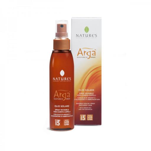 NATURE'S - Olio solare spray invisibile viso-corpo-capelli spf 15 - Linea Argà - 150ml