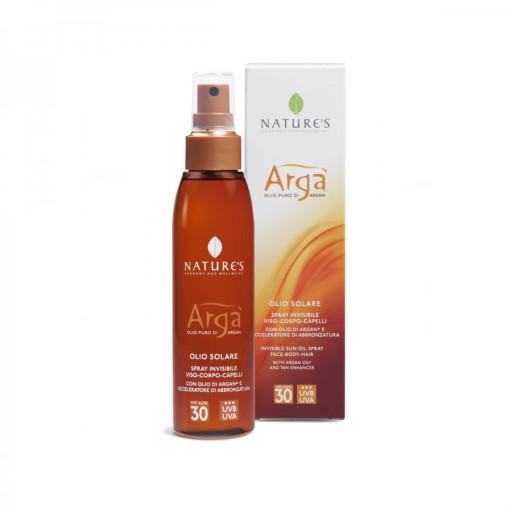 NATURE'S - Olio solare spray invisibile viso-corpo-capelli spf 30 - Linea Argà - 150ml