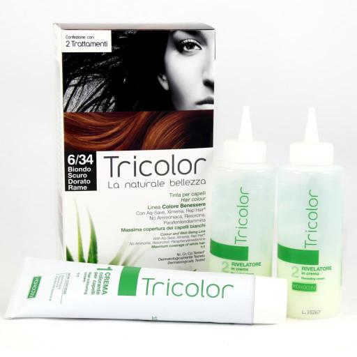 Tricolor tinta per capelli n.6/34 Biondo scuro dorato rame - Linea Homocrin - 2 trattamenti