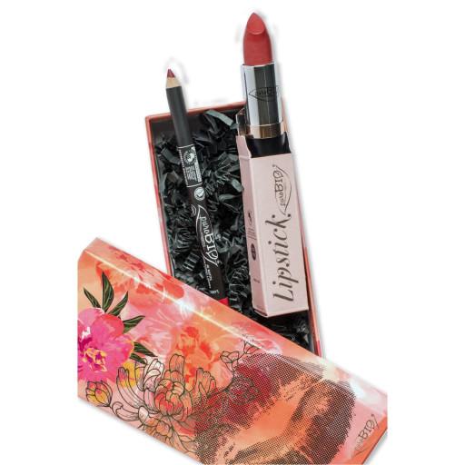 PUROBIO COSMETICS - COFANETTO REGALO: Lipstick n.07 Cremisi + MATITA OCCHI/LABBRA n.40 Cremisi
