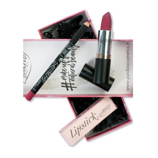 PUROBIO COSMETICS - COFANETTO REGALO: Lipstick n.04 Fragola + MATITA OCCHI/LABBRA n.38 Fragola