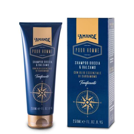 L'AMANDE - Shampoo doccia & balsamo tonificante - Linea Pour Homme - 250ml