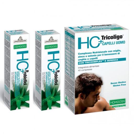 Homocrin Pack: HC+ Tricoligo Capelli Uomo 40 compresse + 2 LOZIONI TONIFICANTI 7ml