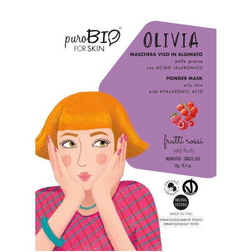 PUROBIO COSMETICS - OLIVIA - Maschera viso bio peel off per pelle grassa - n. 10 Frutti rossi