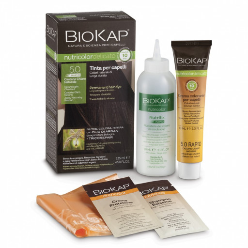 BIOS LINE  - BioKap Tinta Nutricolor Delicato Rapid - nuance 5.0 Castano Chiaro Naturale - 135ml