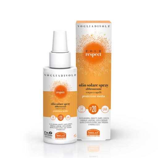 HELAN - Olio Solare Spray Abbronzante SPF 20 corpo e capelli - Linea Voglia di Sole Four Respect - 150ml