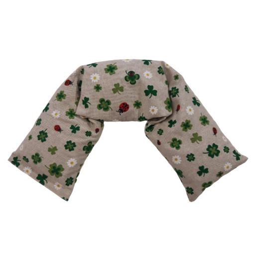 Cuscino a fascia con noccioli di ciliegia - fantasia Quadrifogli